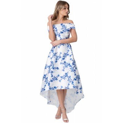 White Satin Floral Off Shoulder Prom Dress Blue