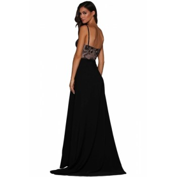 Black Lace Illusion Top High Slit Evening Dress