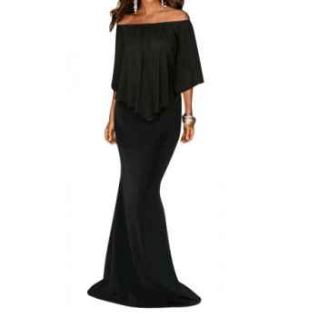 Black Off Shoulder Overlay Ruffle Evening Dress