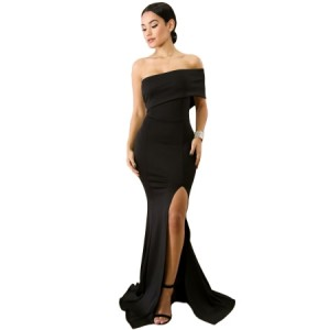 Black Off The Shoulder One Sleeve Slit Maxi Party Prom Dress Red Blue White