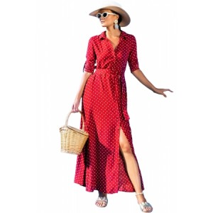 Black Polka Dot Button Down Maxi Shirt Dress Blue Red