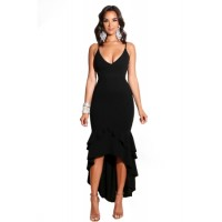 Black Ruffled Dip Layered Hem Spaghetti Strap Dress