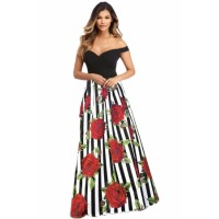 Off Shoulder Sweetheart Neck Bodice Floral Print Gown Red Blue
