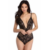 White Lace Net Plunging V Neck Bodysuit Black