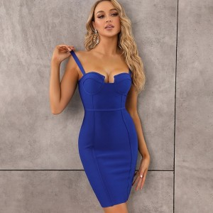 9 Colors Ladies Sexy Blue Yellow Black Rayon Women Summer Bandage Dress 2020 Celebrity Designer Fashion Party Dress Vestido