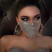 2020 NEW Crystal Masquerade Face Jewelry Women Party Accessories Fashion Fishing Net Metal Rhinestone Sequined Veil Body Jewel