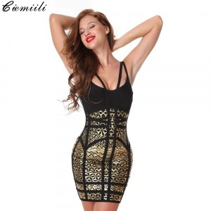 CIEMIILI 2019 Women Printed Sexy Bandage Dress Evening Party Bodycon Celebrity Strapless Sleeveless Dress Clubwear Black