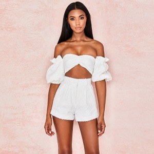 New Fashion 2 Piece Set Women Puff Sleeve Short Crop Top High Waist Wide Shorts Tracksuit Sexy Conjunto Femenino Two Piece Set