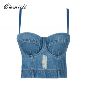 CIEMIILI New Arrival Blue Evening Party Tops Sleeveless Noble Summer Tops for Women 2020 Adjustable Bra Sexy Jean Crop Top