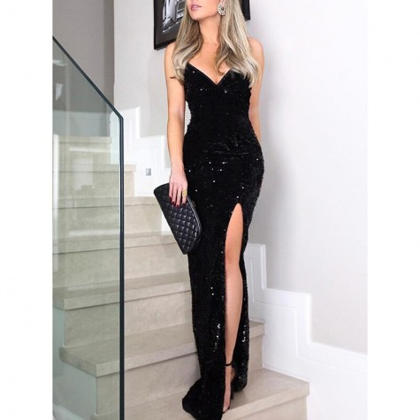 Womens Sequin Patchwork V Neck Dress Spaghetti Strap Party Dress