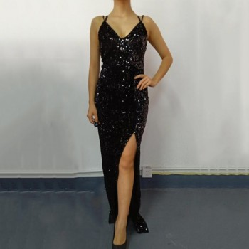 Sleeveless long sequin dress Women high slit spaghetti strap dresses Sexy V neck club party dress Maxi black sequined