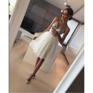 Women Silver Formal White Layers Mesh Sexy Deep V-Neck Low Cut Sequin Club Wear Evening Party Midi Princess Dress