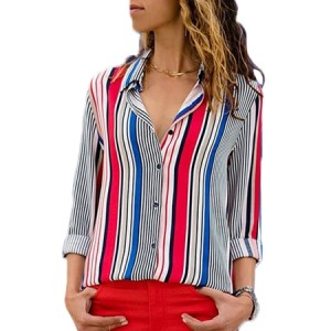 Black Brown Striped Modern Women Shirt White Multi Red