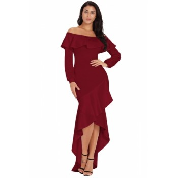 Burgundy Lantern Sleeve Asymmetric Ruffle Hem Evening Dress Blue Black