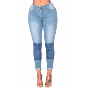 Light Blue Wash Color Block Jeans
