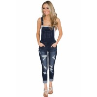 Light Blue Wash Distressed Jeans Overalls Dark Blue