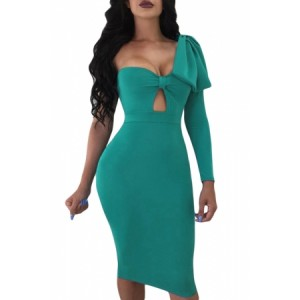 Black Big Bow On Shoulder Bodycon Nightclub Dress Green