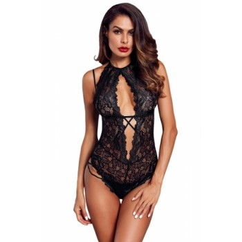 Black Halter Lace Bodysuit
