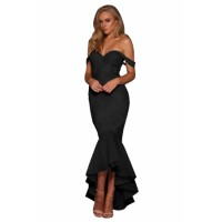 Elegant Black Strapless Lace Fishtail Evening Dress