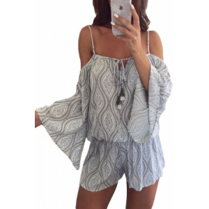 Tribal Print Cold Shoulder Tassels Casual Romper
