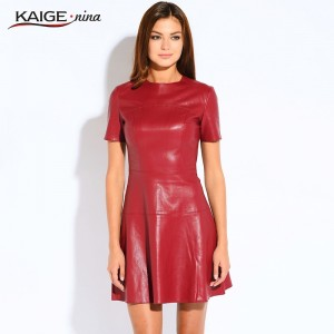 Fashion Leather Dress A-Line O-Neck Black Dress Casual Mini Dress Short Sleeve Sexy Autumn Vestidos PU Dress