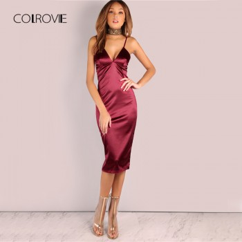 Burgundy Satin Party Club Dress Deep V Neck Women Summer Dresses Sexy Bodycon Strap Ruched Ladies Midi Slip Dress