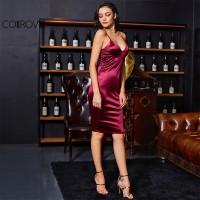 1e52d288446 Burgundy Satin Party Club Dress Deep V Neck Women Summer Dresses Sexy  Bodycon Strap Ruched Ladies