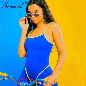 Simenual Casual Sporty Active Wear Backless Playsuit Sexy Push Up Strap Rompers Womens Jumpsuit Workout Fitness Biker Playsuits