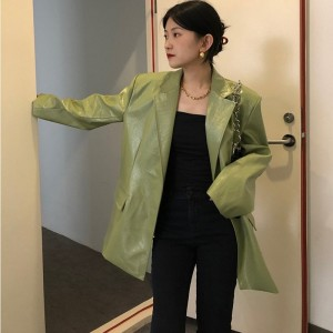 Pu Faux Leather Coat For Women 2021 Korean Loose Fit Lapel Y2k Green Long Sleeve Clothes Chic Vintage Female Outwear Jacket