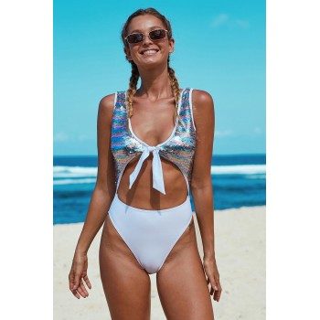 Multicolor Sequin Cutout Sparkling Maillot Swimsuit