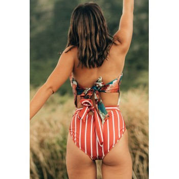 Orange Floral Print Patchwork Stripes One-piece Swimsuit Blue Green Yellow