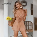 Simplee Sexy Deep V-neck Backless Women Rompers 2021 Casual Summer Spaghetti Strap Solid Playsuits Cotton Beach Ladies Romper
