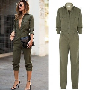 Hot Sale Ladies Sexy Vintage Romper Long Pants Women Slim Bodycon Jumpsuit Long Sleeve Army Green Solid Casual Cargo Pants