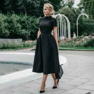 High Quality Elegant Black Dress Women Vintage Ladies Fit Flare Prom Party Night Formal Dress 2020 Retro Dresses Winter D30