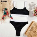 Riseado Sexy Push Up Bikinis Set High Waist Swimsuit Swimwear Women 2021 Patchwork biquini Ribbed Bathing Suits Summer Beachwear