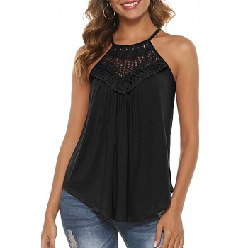 Gray Crochet Patchwork Flowy Tank White Black Red