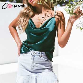 Club Satin Women Solid Camis Top Spaghetti Strap Summer Camis Shirts Backless Solid Sexy Casual Basic Tops
