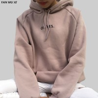 OH YES2017 New Fashion Corduroy Long sleeves Letter Print Girl Light pink Pullovers Tops O-neck Woman Hooded sweatshirt