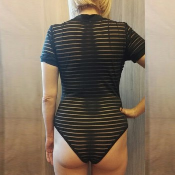 Sexy Black Bodysuit Women See Through Mesh Bodycon Jumpsuit Transparent Body