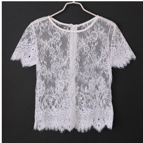 8260ab799ff777 Summer Women Short Sleeve Elegant Crochet Lace Crop Top Hollow Out Tank  Tops White Black