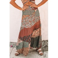 Multicolor Boho Print Tie-Up Waist Long Maxi Skirt Green Orange