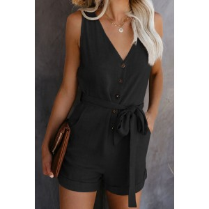 Blue Button V Neck Romper with Belt