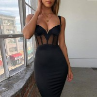 Black Mesh Bodycon Bandage Dress Women Elegant Party Night Club Dress