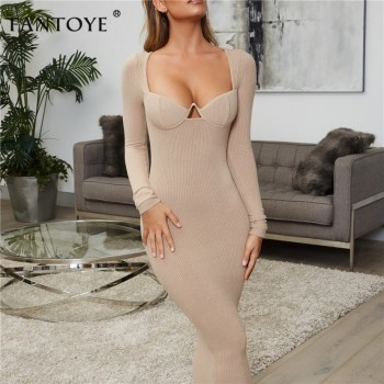Knitted Deep V-Neck Sexy Bodycon Dress Women White Long Sleeve Bandage Pencil Dress