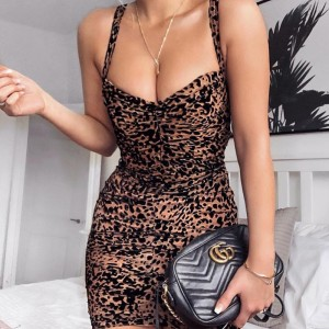 Leopard Dress Bodycon Mini Dress Women Ladies Sexy OL Summer Sundress Party Night