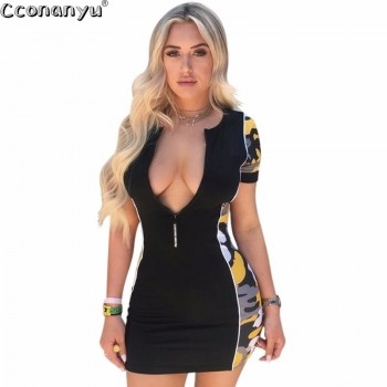 Sexy V Neck Dress Club Print Spring Summer Dress Black Yellow Zipper Dress Short Sleeves Mini Dress
