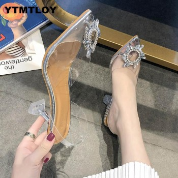 Luxury Women Pumps 2019 Transparent High Heels Sexy Pointed Toe Slip-on Wedding Party Brand Fashion Shoes For Lady PVC