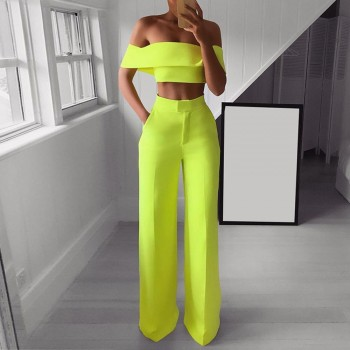 Women Fashion Solid Cold Shoulder Ruffle Shirt Button Zipper Wide Leg Pant Suit New Arrivals #0913