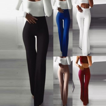 Sexy Women High Waist Long Pants Women Business Solid Pants Palazzo Wide Leg Pants Women Harem Pants