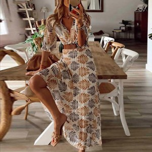 Summer Beach Women Casual Bohemian Short Sleeve Loose High Waist Print Dress Bohemian Style,Printing,Pleated Design,Belt Include